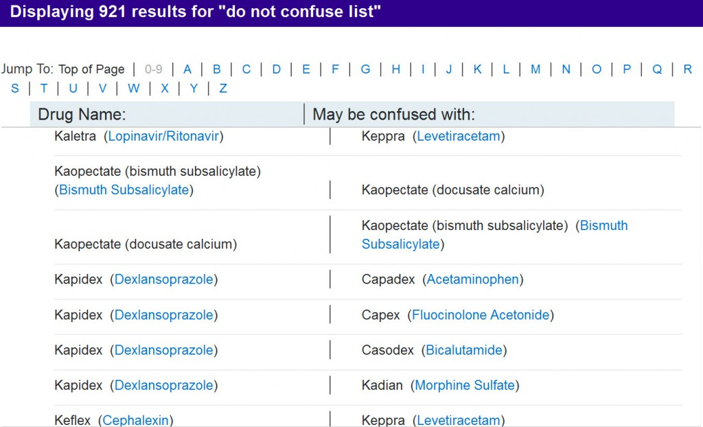 """Micromedex """"Do Not Confuse List"""""""