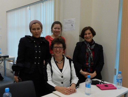 Nancy Tannery bottom left, Barbara Epstein bottom right and two Kazakhstan medical librarians.