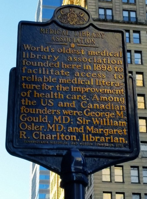 World's oldest medical library association founded here in 1898 to facilitate access to reliable medical literature for the improvement of health care. Among the US and Canadian founders were George M. Gould, MD; Sir William Osler, MD; and Margaret R. Charlton, librarian.