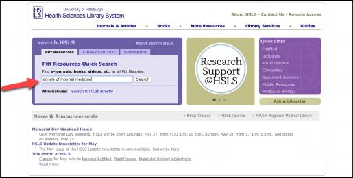 Figure 1: Pitt Resources Quick Search box