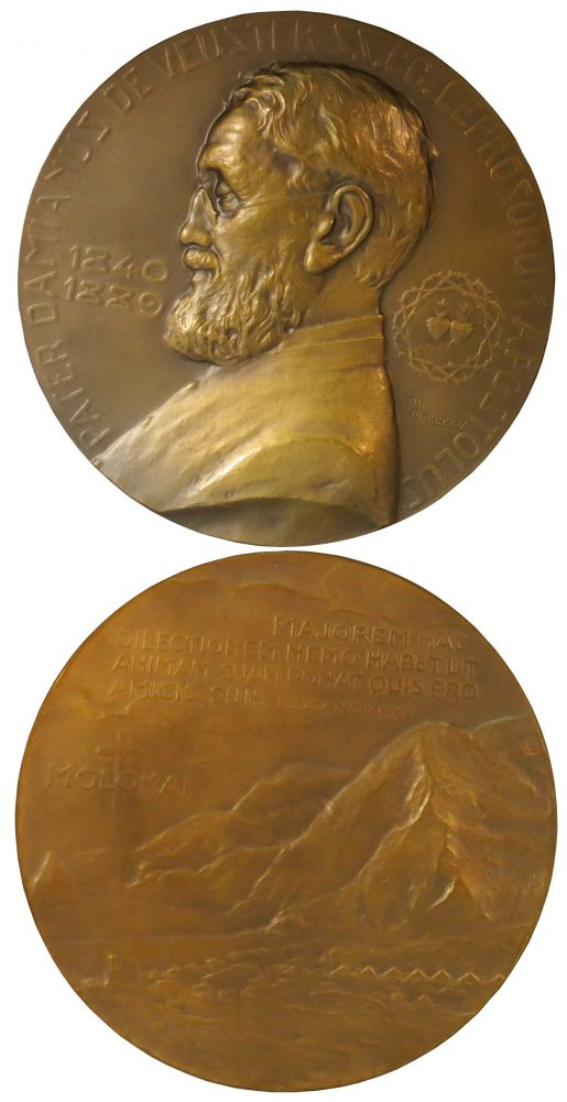Two sides of Damien medal