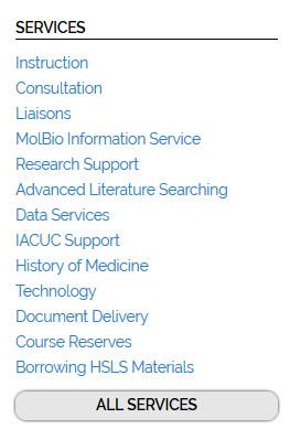 Services menu screenshot