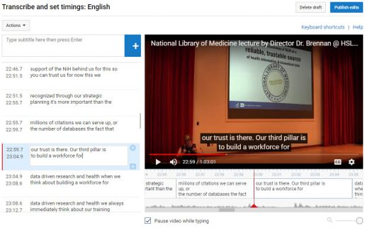 YouTube Transcribe and Set timings