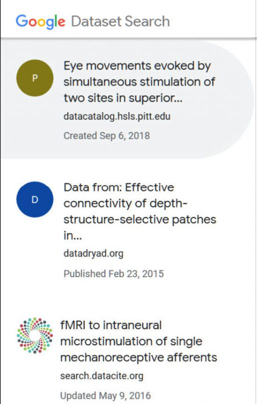 Google Dataset results showing Eye Movements