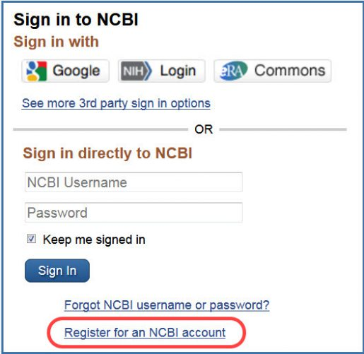 Registration box from NBCI account