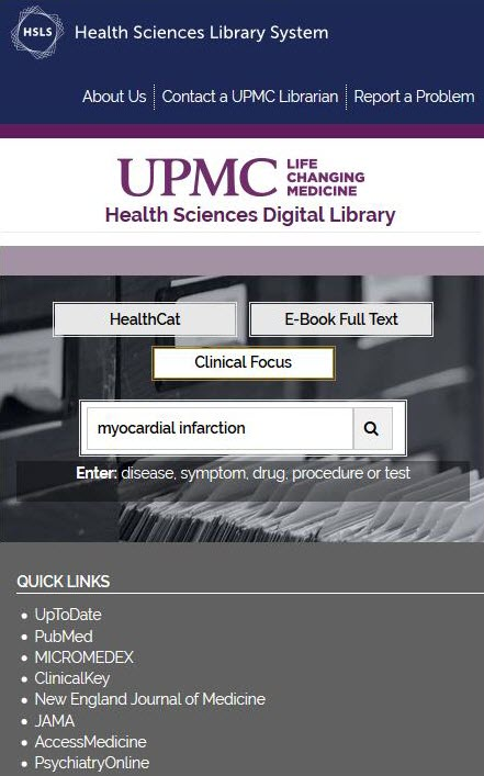 Mobile view of UPMC-centered website for the library
