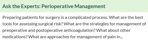 Discussion question on perioperative management