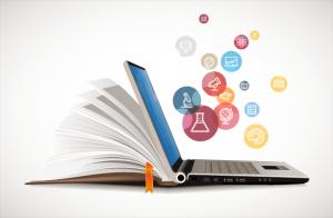 Decorative: book to e-book learning concept