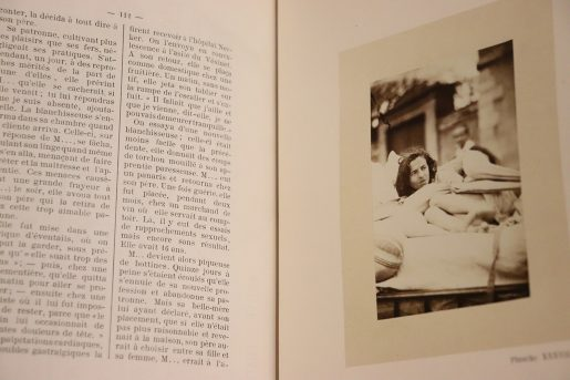 Book page with French text on left side and image of woman on the right side