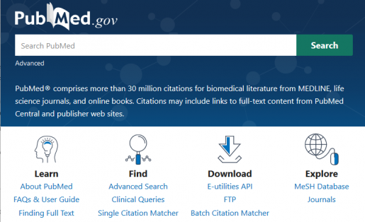 New PubMed homepage with search box and links