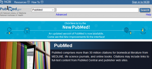 Banner at the top of PubMed.gov that links to new PubMed