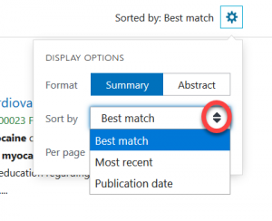 Arrow circled next to Sort By menu with options for Best match, Most recent, and Publication date