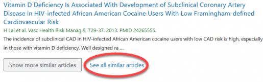 See all similar articles text circled below a PubMed citation