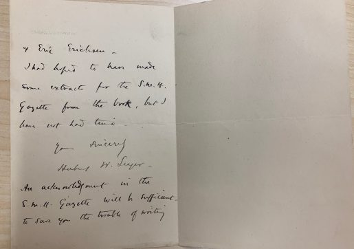 Handwritten note signed by Herbert W. Seager