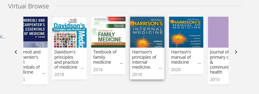 Related medical reference books with titles and years listed