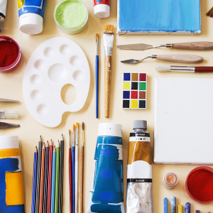 Paint, sculpting tools, and canvases for creative art projects