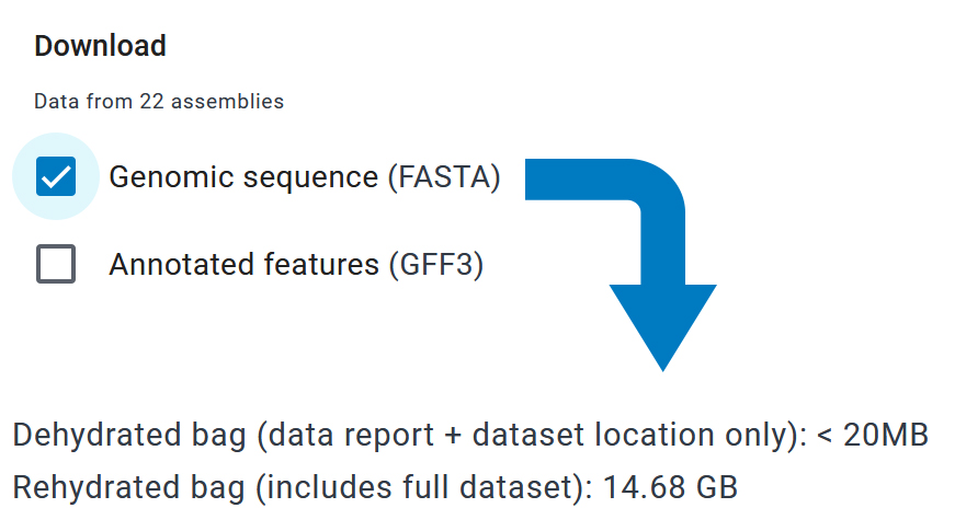 Genomic sequence (FASTA) of 22 assemblies is selected and is 14.68 GB, so it downloads as a 20 MB dehydrated bag