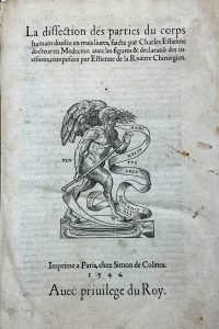 French title and description of Estienne anatomy book