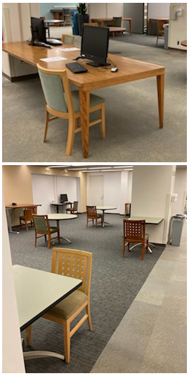 Chairs next to computers or tables for library use