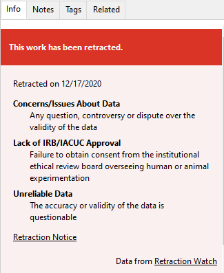 A notice reads This work has been retracted for an article in Zotero