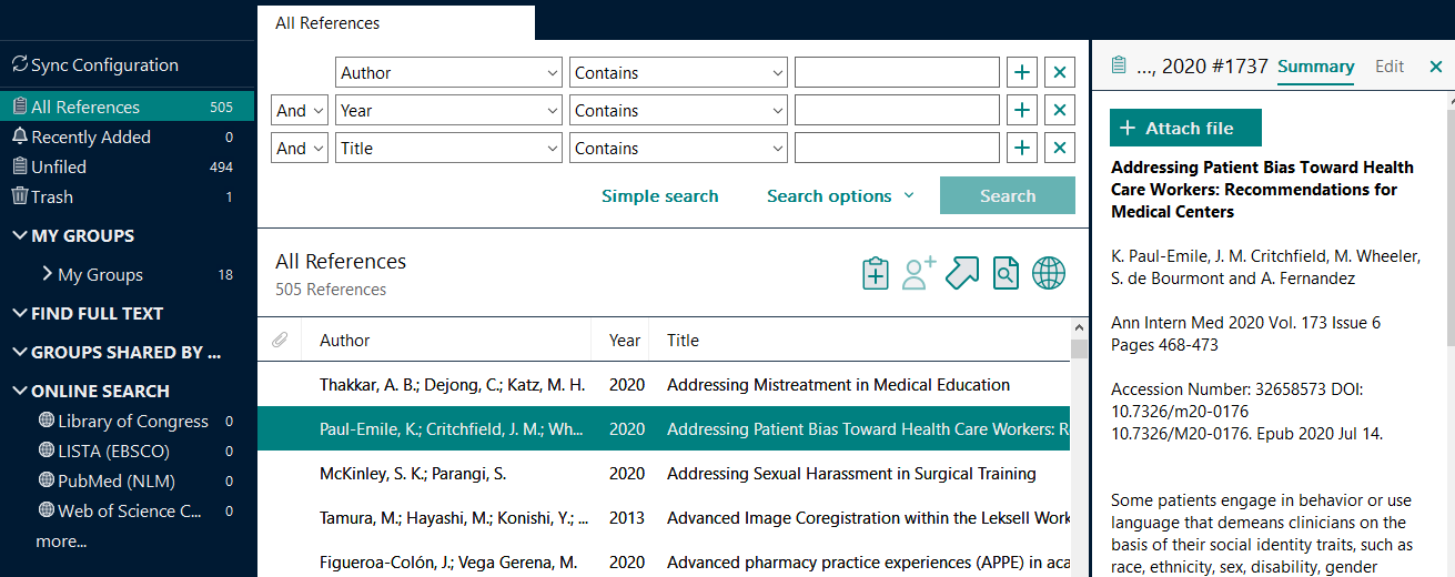 Integrated mode shows a list of references, with the preview displayed next the reference selected. Menus on the left let you change displays or search online.