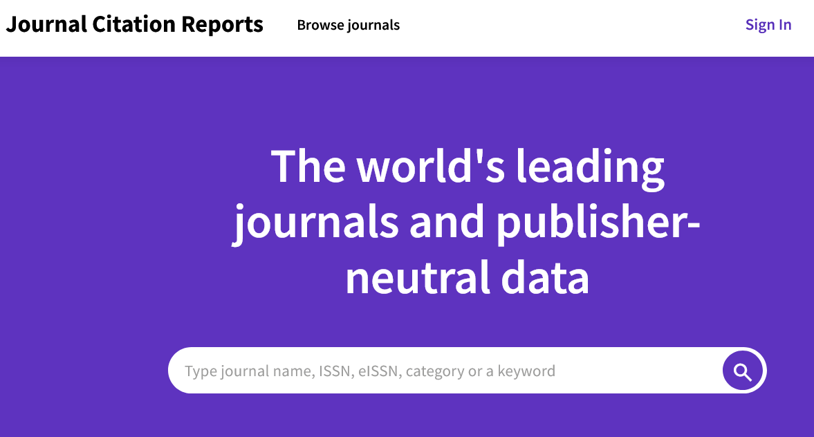 Search Journal Citation Reports from the homepage
